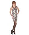 Dazzle jurk zilver met pailletten M Zilver