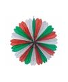 Waaier rood/wit/groen 60 cm