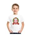 Eenhoorn kerstmis shirt wit voor kinderen XL (158-164) Multi