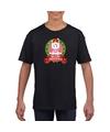 Eenhoorn kerstmis shirt zwart voor kinderen M (134-140) Zwart