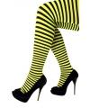 Feest/party gestreepte heksen panty maillot zwart/geel voor dames One size Geel