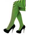 Feest/party gestreepte heksen panty maillot zwart/groen voor dames One size Groen