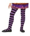 Feest/party gestreepte heksen panty maillot zwart/paars voor meisjes Paars