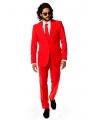 Fel rood business pak voor heren 46 (S) Rood