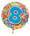 Gekleurde folie ballon 8 jaar