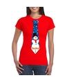 Fout Kerst shirt rood sneeuwman stropdas voor dames XL Rood