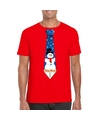Fout Kerst shirt rood sneeuwman stropdas voor heren L Rood