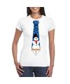 Fout Kerst shirt wit sneeuwman stropdas voor dames L Wit