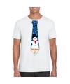 Fout Kerst shirt wit sneeuwman stropdas voor heren 2XL Wit