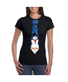 Fout Kerst shirt zwart sneeuwman stropdas voor dames L Zwart