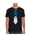 Fout Kerst shirt zwart sneeuwman stropdas voor heren S Zwart