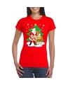 Fout Kerstmis shirt rood met de kerstman en Rudolf voor dames S Rood