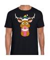 Fout Kerstmis t-shirt zwart Gay Ruldolf regenboog muts en roze sjaal voor heren 2XL Zwart