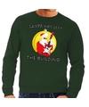 Foute feest kerst sweater groen Santa Elvis has Left the Building voor heren 2XL (56) Groen