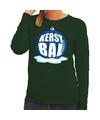 Foute feest kerst sweater met blauwe kerstbal op groene sweater voor dames L (40) Groen