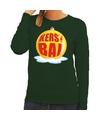 Foute feest kerst sweater met gele kerstbal op groene sweater voor dames S (48) Groen