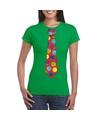 Foute kerst shirt met kerstballen stropdas groen voor dames XS Groen