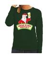 Foute kerst sweater groen dronken Kerstman met bier dames XS (34) Groen