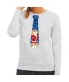 Foute kerst sweater met kerstman stropdas grijs voor dames M (38) Grijs
