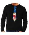 Foute kerst sweater met kerstman stropdas zwart voor heren XL (54) Zwart