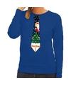 Foute kerst sweater met kerstmis stropdas blauw voor dames M (38) Blauw