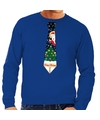 Foute kerst sweater met kerstmis stropdas blauw voor heren S (48) Blauw