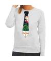 Foute kerst sweater met kerstmis stropdas grijs voor dames L (40) Grijs