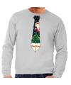 Foute kerst sweater met kerstmis stropdas grijs voor heren S (48) Grijs