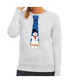 Foute kerst sweater met sneeuwpop stropdas grijs voor dames XL (42) Grijs