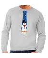 Foute kerst sweater met sneeuwpop stropdas grijs voor heren M (50) Grijs