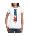 Foute kerst t-shirt met kerstman stropdas wit voor dames XL Wit