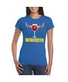 Foute kerstborrel t-shirt blauw Winedeer dames S Blauw