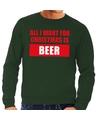 Foute kerstborrel trui groen All I Want Is Beer heren 2XL (56) Groen