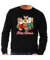 Foute kerstborrel trui zwart kerstsokken met diertjes voor heren 2XL (56) Zwart