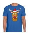 Foute Kerstmis shirt blauw met Ruldolf het rendier met rode muts voor heren 2XL Blauw
