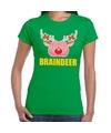 Foute Kerstmis t-shirt braindeer groen voor dames M (38) Groen