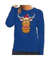 Foute kersttrui blauw met Ruldolf het rendier met rode muts voor dames M (38) Blauw