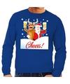 Foute kersttrui cheers met dronken kerstman en Rudolf voor heren L (52) Blauw