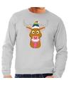 Foute kersttrui grijs Gay Ruldolf regenboog muts en roze sjaal voor heren XL (54) Grijs