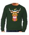 Foute kersttrui groen Gay Ruldolf regenboog muts en roze sjaal voor heren L (52) Groen