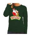 Foute kersttrui groen Kerstman met saxofoon dames L (40) Groen