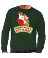 Foute kersttrui groen Kerstman met saxofoon heren M (50) Groen