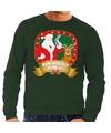 Foute kersttrui groen Rudolph en Kerstman met pistool heren S (48) Groen