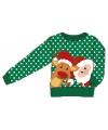 Foute kersttrui met kerstman en rendier voor kids 116-122 Groen
