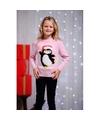 Foute kersttrui pinguin voor kids 5/6 jaar (116/122) Roze