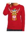 Foute kersttrui rood Gay Ruldolf regenboog muts en roze sjaal voor dames XS (34) Rood