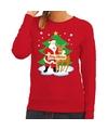 Foute kersttrui rood met de kerstman en Rudolf voor dames S (36) Rood