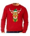 Foute kersttrui rood met Ruldolf het rendier met groene muts voor heren 2XL (56) Rood