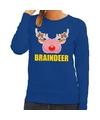 Foute kersttrui / sweater braindeer blauw voor dames M (38) Blauw