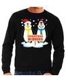 Foute kersttrui zwart met 2 pinguins voor heren 2XL (56) Zwart